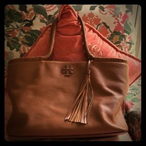 Tory Burch Taylor braided Tassel Tote Saddle